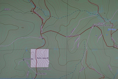 Now this is the view of the above National Forest land with onXmaps HUNT software on a Garmin GPS.